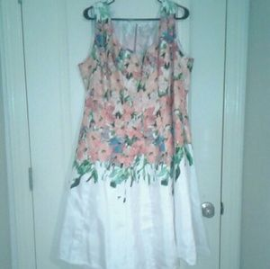 Peach and White Floral Dress